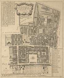 The parish of St. James's, Westminster taken from the last survey with corrections (1755)